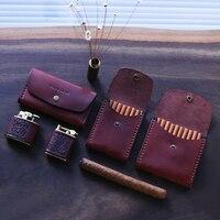 Retro Cigarette Case First Layer Cowhide Men Women Portable Ultra thin Personalized Wooden 7 Sticks Cigarette Cases Storage Box