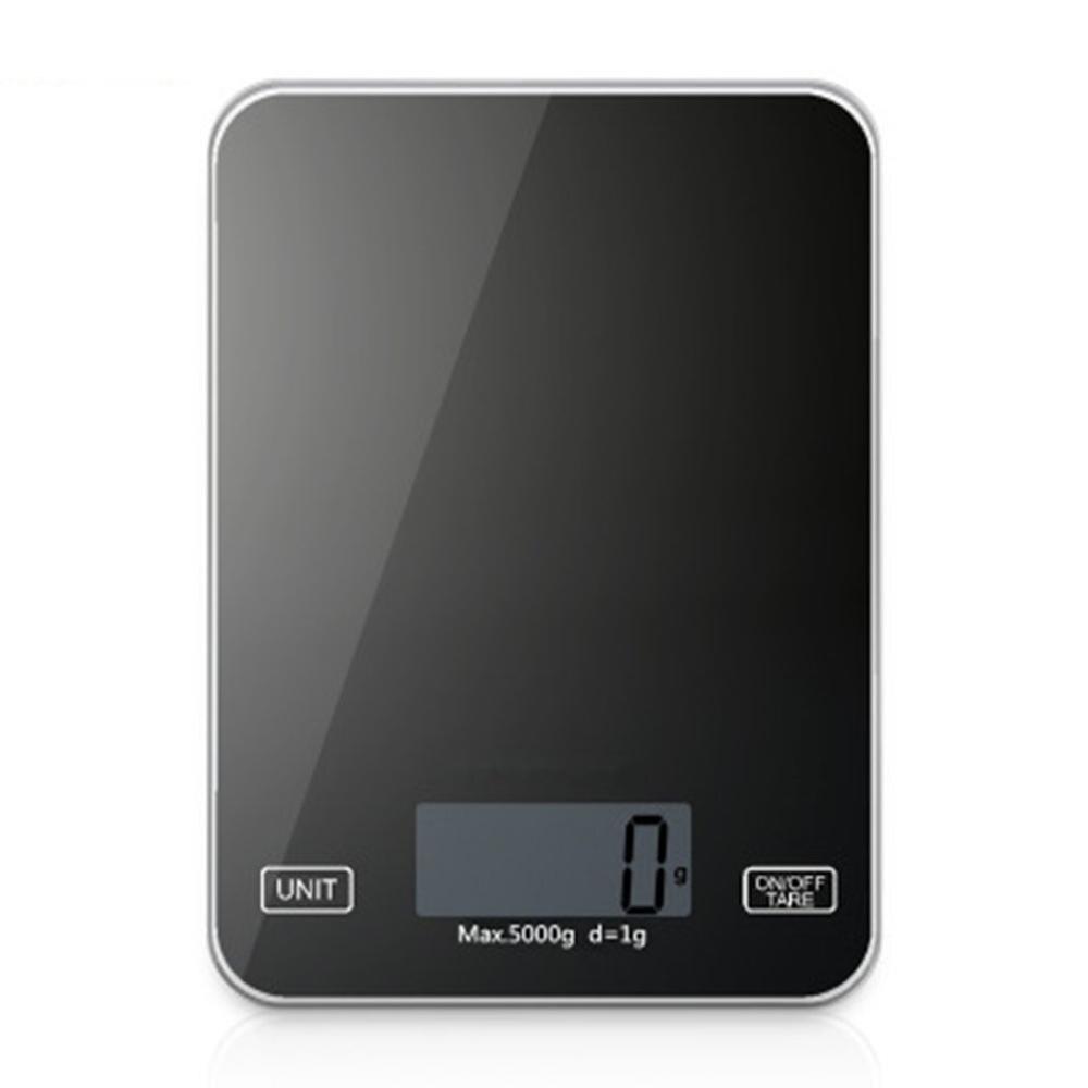 الغذاء الخبز الموازين الصغيرة المدمجة 5 كجم/1 جرام المطبخ ميزان إلكتروني المنزل الزجاج المطبخ مقياس أسود Tgk-001
