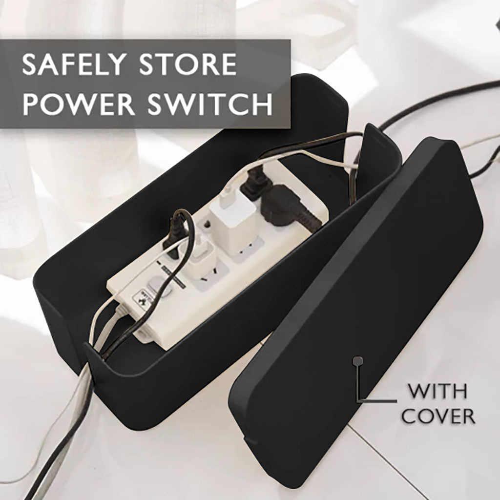 กล่อง Organizer กล่องการจัดการสายไฟฟ้า Outlet ถังสำหรับแถบ Multi-Charger สายจัด 3 ขนาด