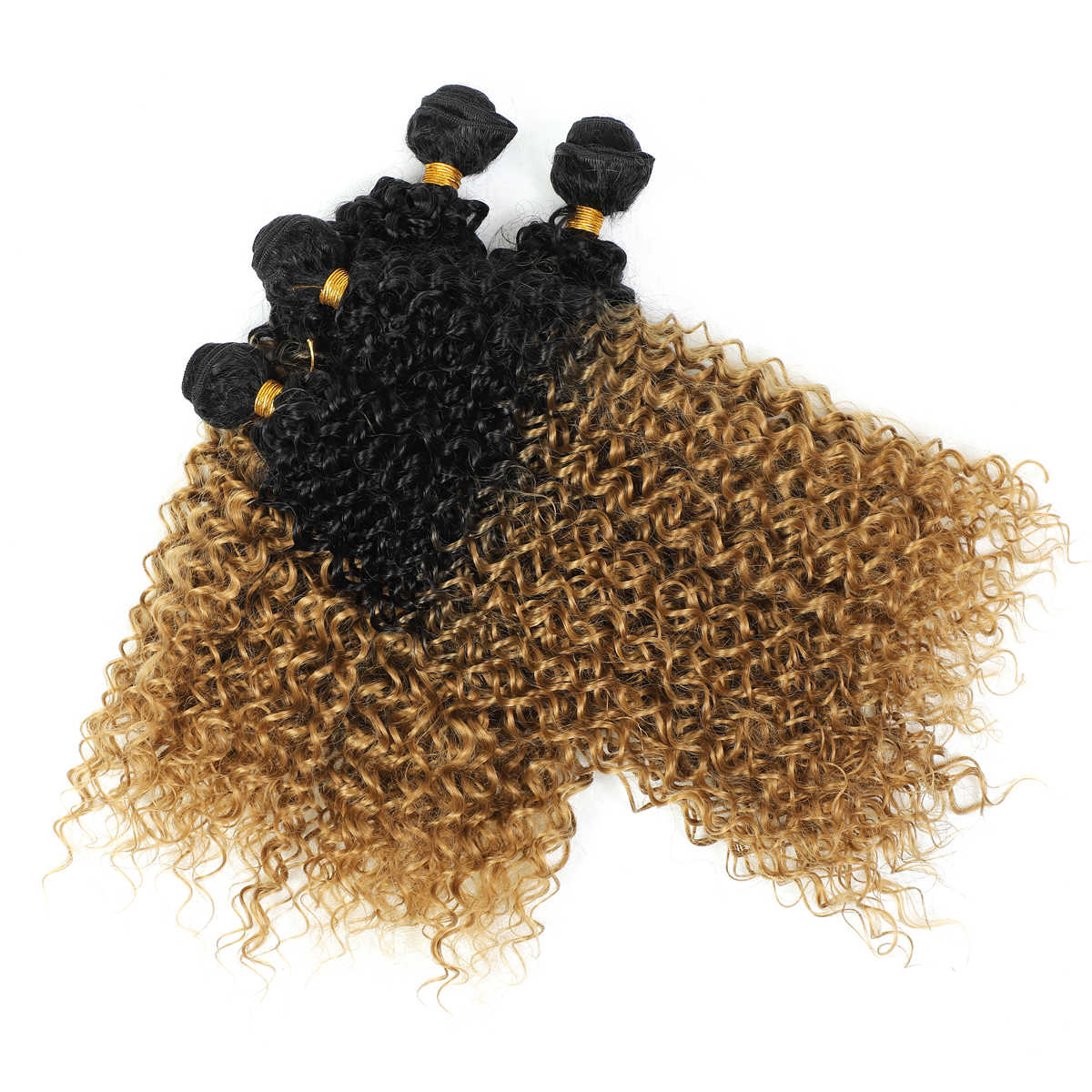 Ombre syntetyczne doczepy do włosów czarne korzenie perwersyjne pasma kręconych włosów 1B/szary blond bordowy fioletowy zielony kolor Afro kręcone splot