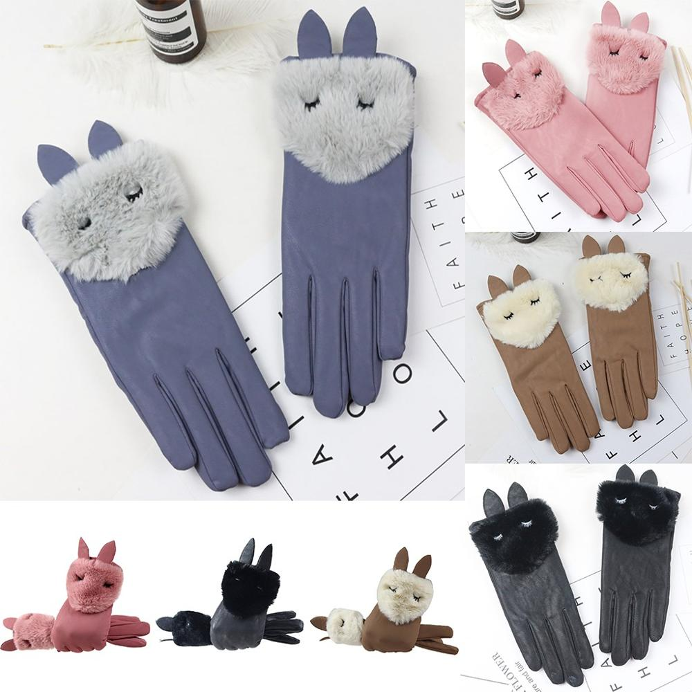 Snow Gloves For Women New Ladies Cute Rabbit Decorated Winter Bike Ski Gloves Non-slip Cuffs Soft Plush Gloves Handschoenen Ski 30S23