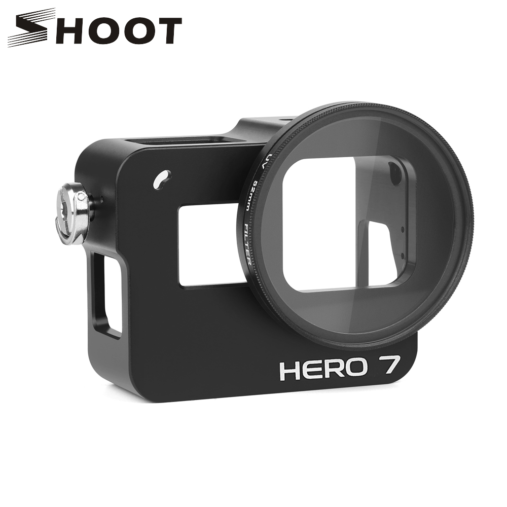 SHOOT CNC Aluminum Alloy Protective Case Mount for GoPro Hero 7 6 5 Black with 52mm UV Lens for Go Pro Hero 7 6 Black Accessory