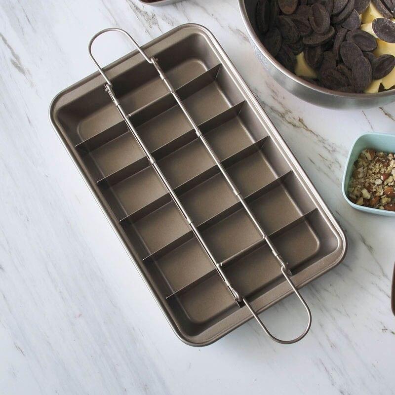 Image 4 - Профессиональная форма для выпечки шоколадного торта 18 полость квадратная решетка из углеродистой стали инструменты для выпечки Легкая очистка сковорода для выпечки коричневого пирога    -