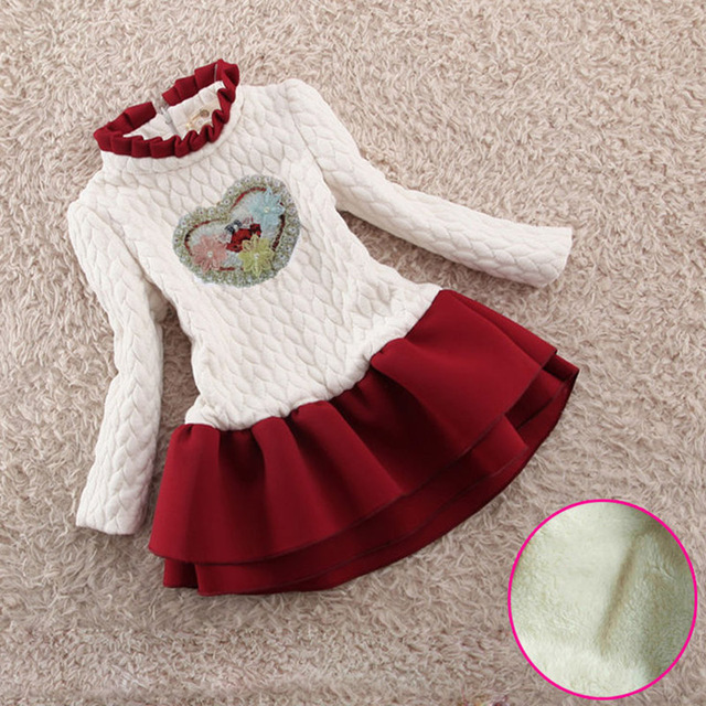 Children Girls Autumn Winter Cotton Velvet Flower Girls Dress Children Long Sleeved White A line Dress Children Girls Xmas Dress