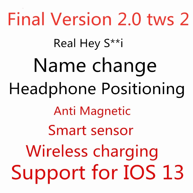 Final Version 2.0 Tws Bluetooth Earphones With Real Siri Positioning  Name Change Smart Sensor Wireless Charging Noise Reduction