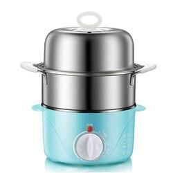 Domowa dwuwarstwowa elektryczna kuchenka do gotowania jajek kocioł do 14 jajek taca ze stali nierdzewnej gorący kociołek/makaron kucharski (wtyczka amerykańska)|Podwójne kotły|   -