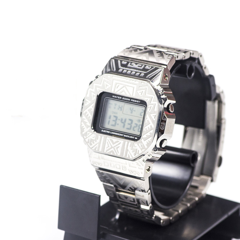 316L Stainless Steel Indian Pattern Watch Band Case For Casio <font><b>G</b></font>-<font><b>shock</b></font> GWM-B5000 <font><b>DW</b></font>-<font><b>5600</b></font> Watch Bezel For Casio <font><b>g</b></font> <font><b>shock</b></font> strap image