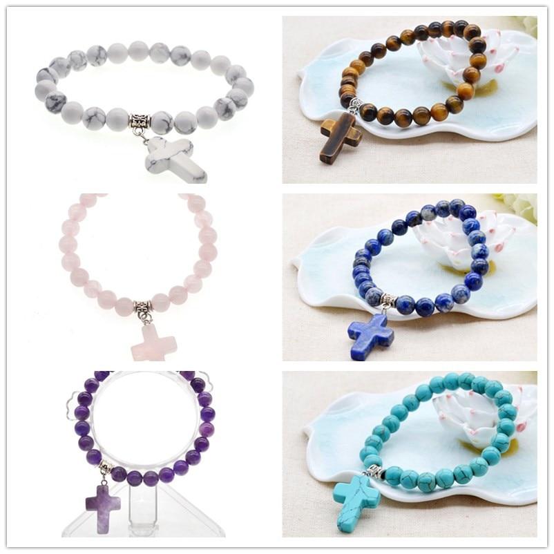 Yingwu Charm Cross Pendant Bracelet With Natural Stone Beads Purple Amethyst Yoga Bead Bracelet For Women Men Friend Gift