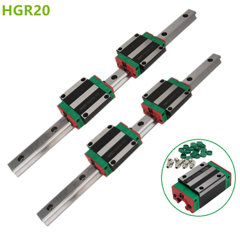 2pc HGR20 HGH20 Square Linear Guide Rail ANY LENGTH+4pc Slide Block Carriages HGH20CA/flang HGW20CC CNC Router Engraving-in Linear Guides from Home Improvement