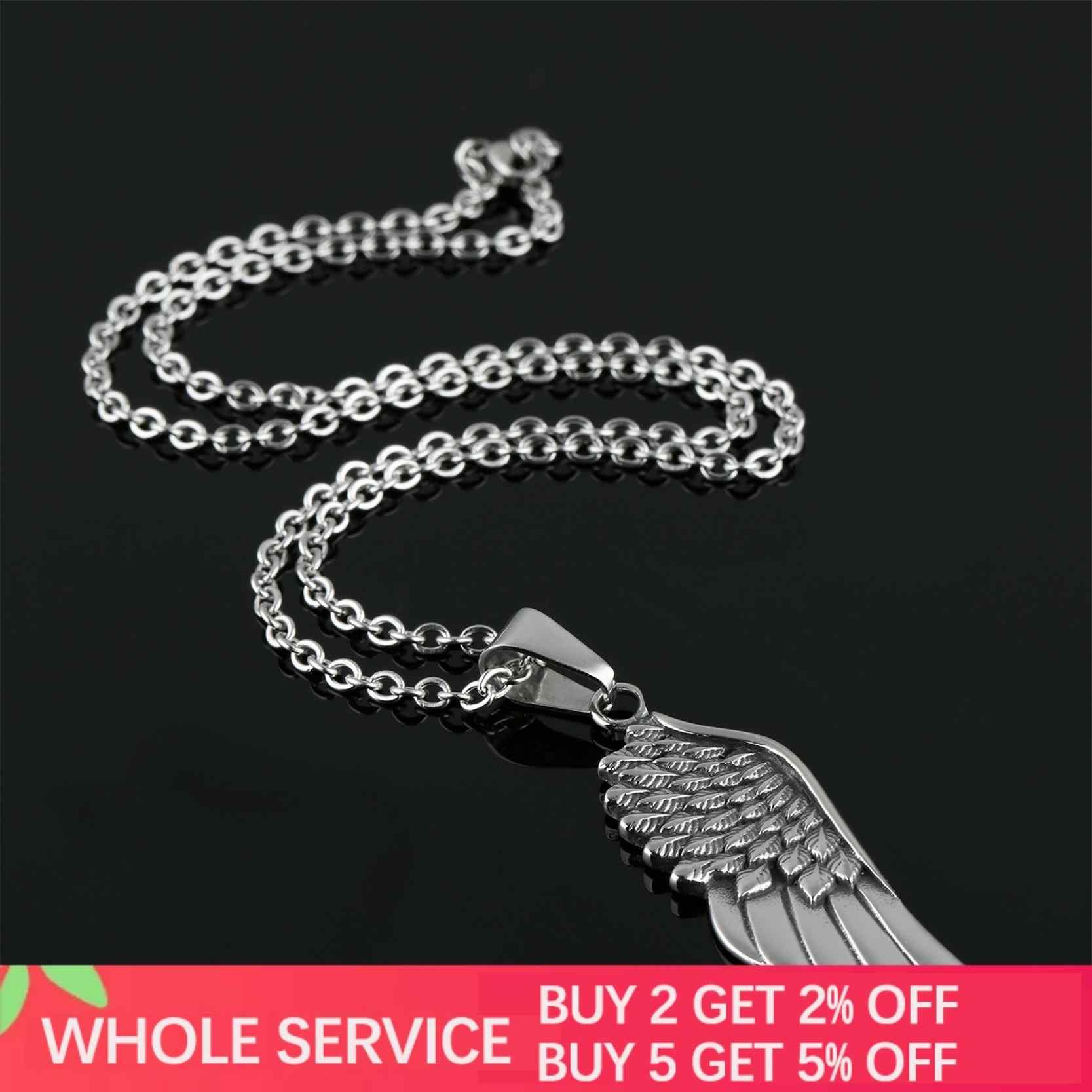 Jiayiqi-colliers pour hommes, pendentifs avec plumes d'ange plaqué argent, accessoires de bijouterie gothique, Vintage, en acier inoxydable