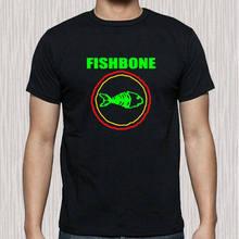 Tamanho preto s da camisa t dos homens do logotipo de fishbone a 3xl