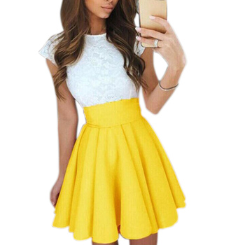 New Women's Pleated Skirt High Waist Slim Mini Casual Formal Skirt Party Faldas Mujer Moda 2021 Fashion Woman Skirts - Yellow, XXL