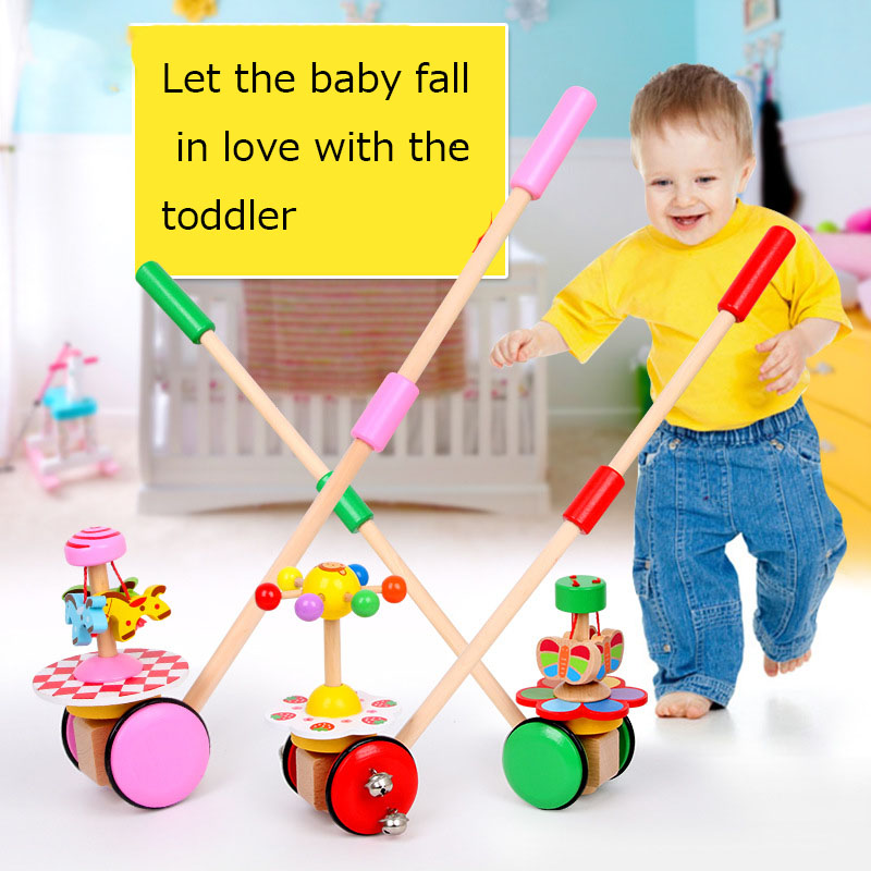 Wooden Animal Children Push Pull Drag Car Toys Wooden Educational Toys For Children Baby Pushed Car