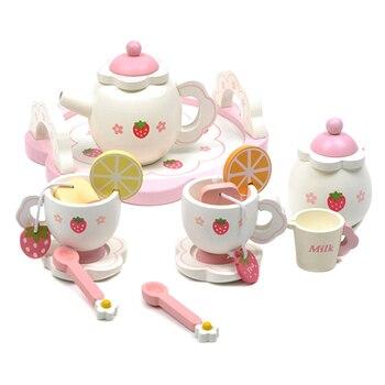 ไม้ชุดชามินิของเล่นถ้วยกาน้ำชาถาดสำหรับเด็กห้องครัวบทบาทเล่นเกม AUG889