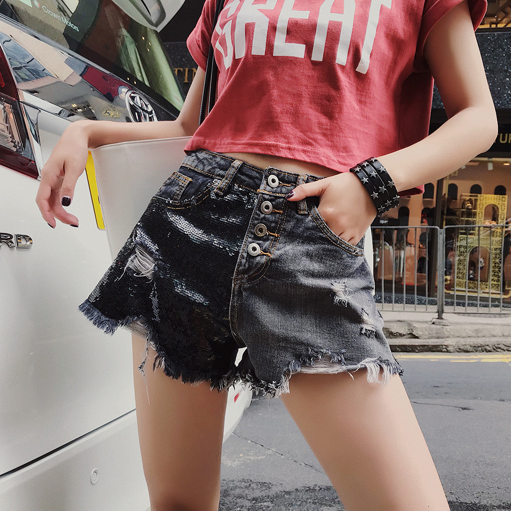 2020 Plus Size S-5XL New Arrival Women Shorts Hight Waist Sequin Female Shorts Flower Hole Loose Female Buttons Tassel Trousers