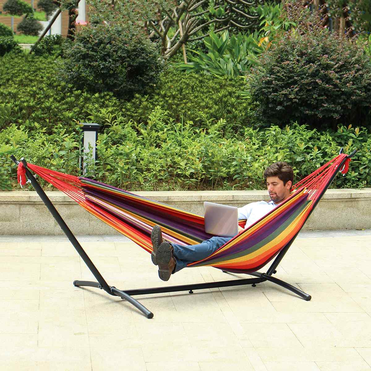 200kg Load 2 Adults Double Hammock Set Quilted Hammock Swing