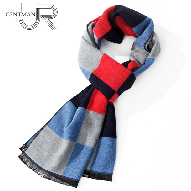 New Men Casual Cashmere Scarf Men Fashion Lattice Color Mixing Scarves 30cm*180cm Winter Warm Smooth Men Scarf