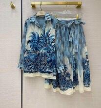 High-end Runway Design Vintage stripe tress Print 2 Piece Set Women's Long Sleeve Shirt + belt long Skirt Suit Outfit S196