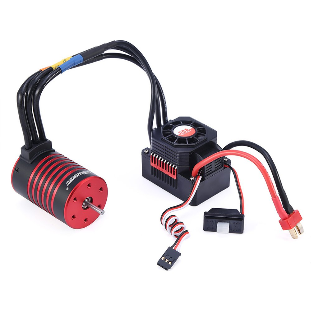 GTSKYTENRC Combo 3650 3600KV/5200KV Brushless Motor with Heat Sink 60A Electronic Speed Controller for 1/10 RC Car Truck