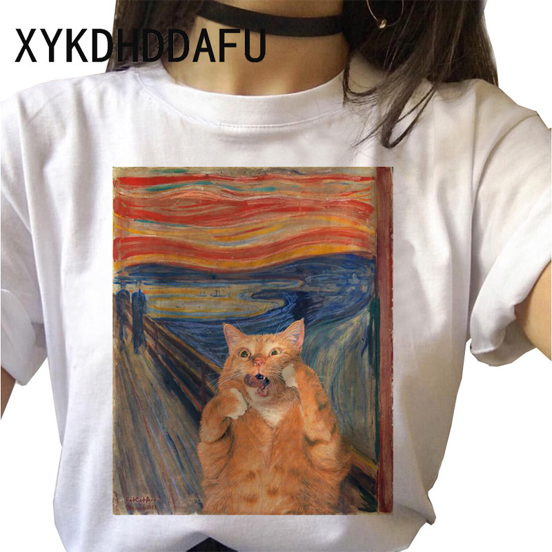 Cat Women Van Gogh T Shirt Kawaii Funny Cartoon Aesthetic Tshirt Ulzzang Tumblr Clothes Grunge Female Top Tees Femme Harajuku