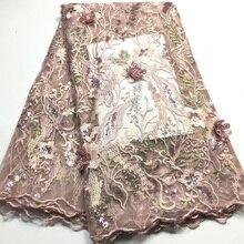 Tela de encaje africano con flores 3D 2020 encaje de alta calidad con lentejuelas, telas de encaje nigeriano con cuentas para vestido de novia M35502