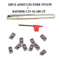 1Pcs BAP300R C15 16 200 pcs APMT1135 2T + 10 PDER VP15TF CNC Titular Fresa de Desbaste de Bolso com Pastilhas De Metal Duro