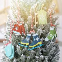 5pcs Christmas Skates Ski Shoes Pendant Tree Innovative Clothes Gloves Socks Sled Ornament Home Decor