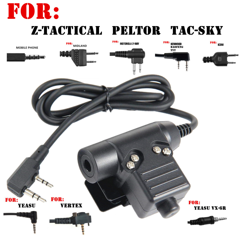 Tactical U94 PTT Headset Accessory PTT For  Z-Tactical  Tca-sky Peltor  Headphones For Baofeng Icom Midland Motorola YEASU Radio