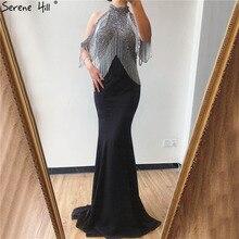 Serene hill preto sereia sexy jérsei vestidos de noite 2020 luxo beading borla elegante para a festa feminina la70346