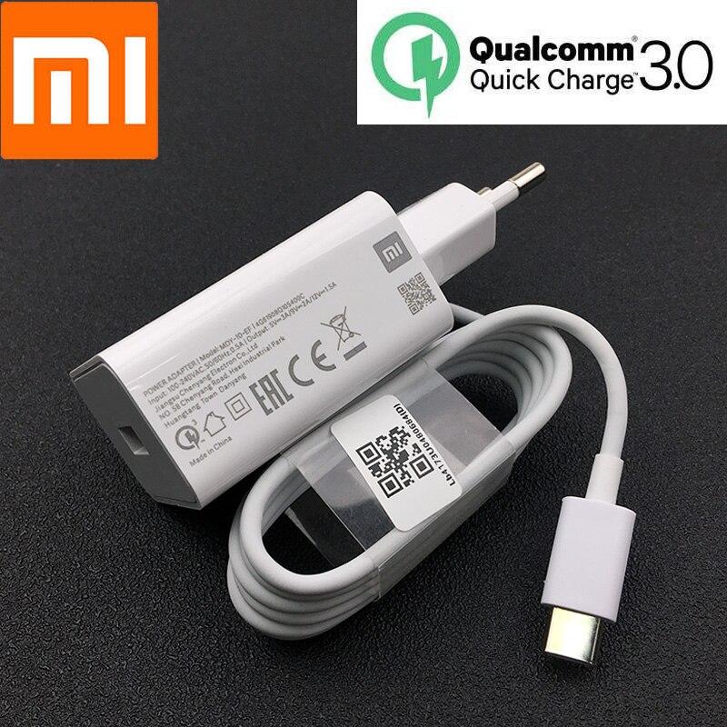 Original Xiao mi mi 9 SE 18W Carregador Rápido QC 3.0 Tipo c cabo de adaptador De Energia USB de Carga Rápida para mi 8 9 t cc9 redmi note 7 k20 pro