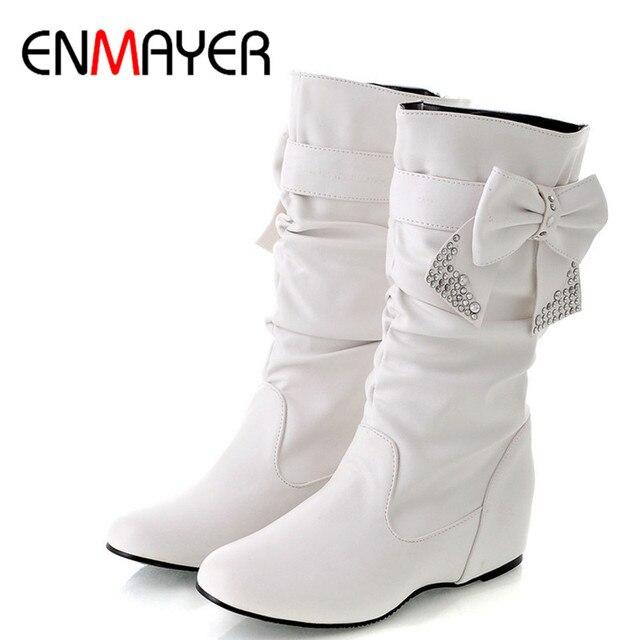 ENMAYERผู้หญิงใหม่ฤดูใบไม้ผลิและฤดูใบไม้ร่วงBowtie Charms Flatsรองเท้าผู้หญิงกลางลูกวัว 4 สีสีขาวรองเท้ารองเท้าขนาดใหญ่ขนาด 34 47