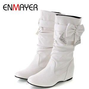Image 1 - Новые дамские весенне осенние ботинки «ENMAYER» с бантом на плоской подошве Дамские ботинки до середины икры в 4 расцветках Большие размеры (34–47)