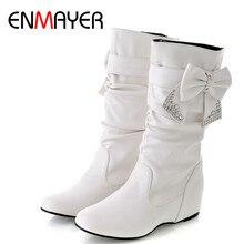 Enmayer nova mulher primavera e outono bowtie encantos apartamentos botas mulher meados de bezerro 4 cores sapatos brancos botas tamanho grande 34 47