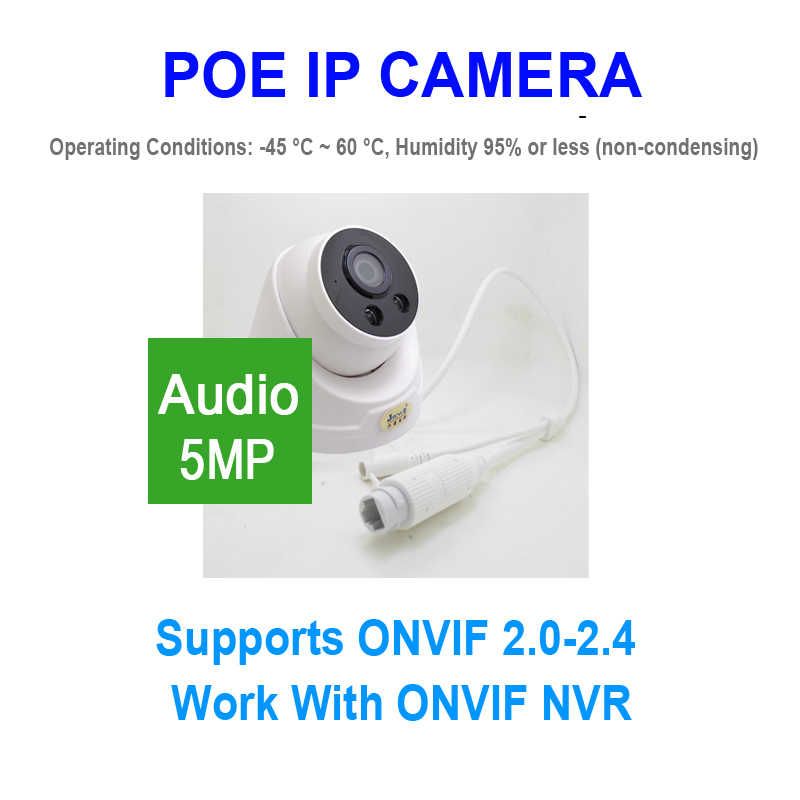 JIENUO 5MP POE Camera IP Dome IPC Bewaking HD Cctv Video IPCam Indoor Nachtzicht Infrarood Ipcam Thuis Camera XMeye