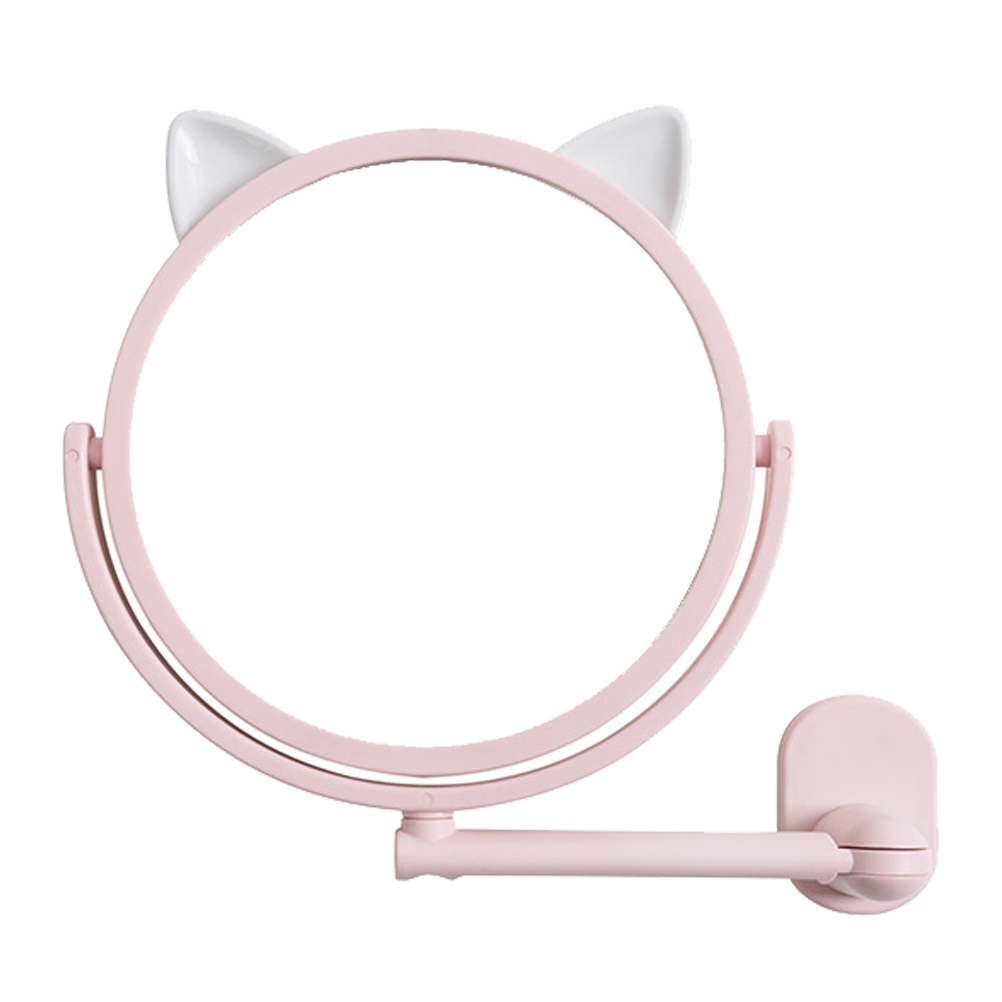 Cat Ear Makeup Mirror Vanity Mirror Spiegel Wall Mounted Cosmetics Mirror Bathroom Makeup Mirror Swivel Vanity Mirror (Pink)