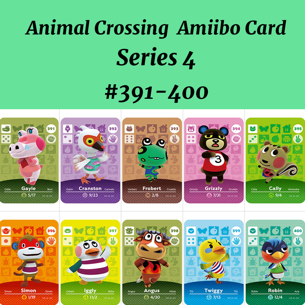 Series 4(391-400)Animal Crossing Card Work For NS Game Amiibo Card Support NFC