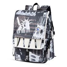 Modne plecaki z nadrukiem plecaki powrót do szkoła podróże plecak najwyższej jakości plecaki o dużej pojemności wodoodporne plecaki tanie tanio ANGIETPYE NYLON CN (pochodzenie) wytłoczone Unisex Miękka osłona Poniżej 20 litrów Otwór na wyjście Wewnętrzny przedziałek