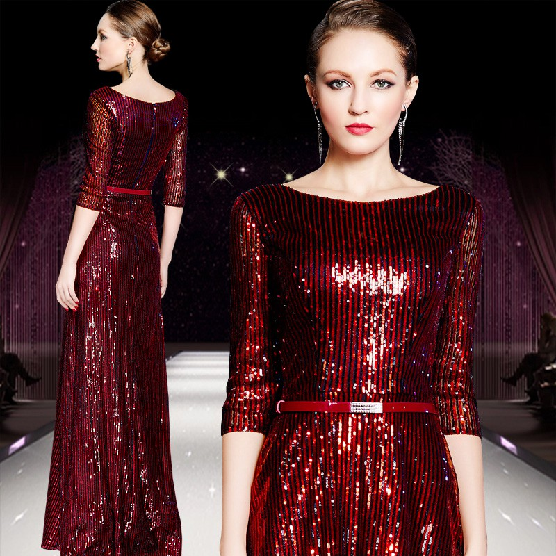 2018 Robe De Soiree Vestido De Festa Prom Evening Gown Sashes Vintage Half Sleeve Red Sequined Long Mother Of The Bride Dresses