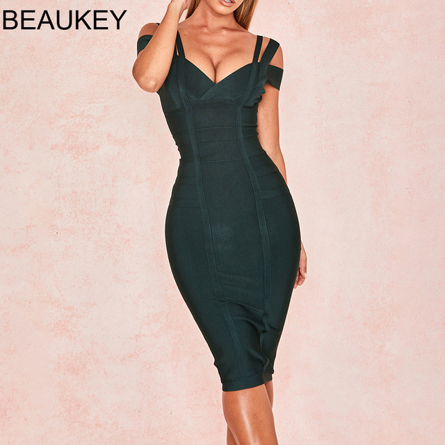 BEAUKEY 2019 Hot Sex  V Neck Green Bandage Dress Double Strap Party Club Elastic White Red Bodycon Vestido Plus Size XL China