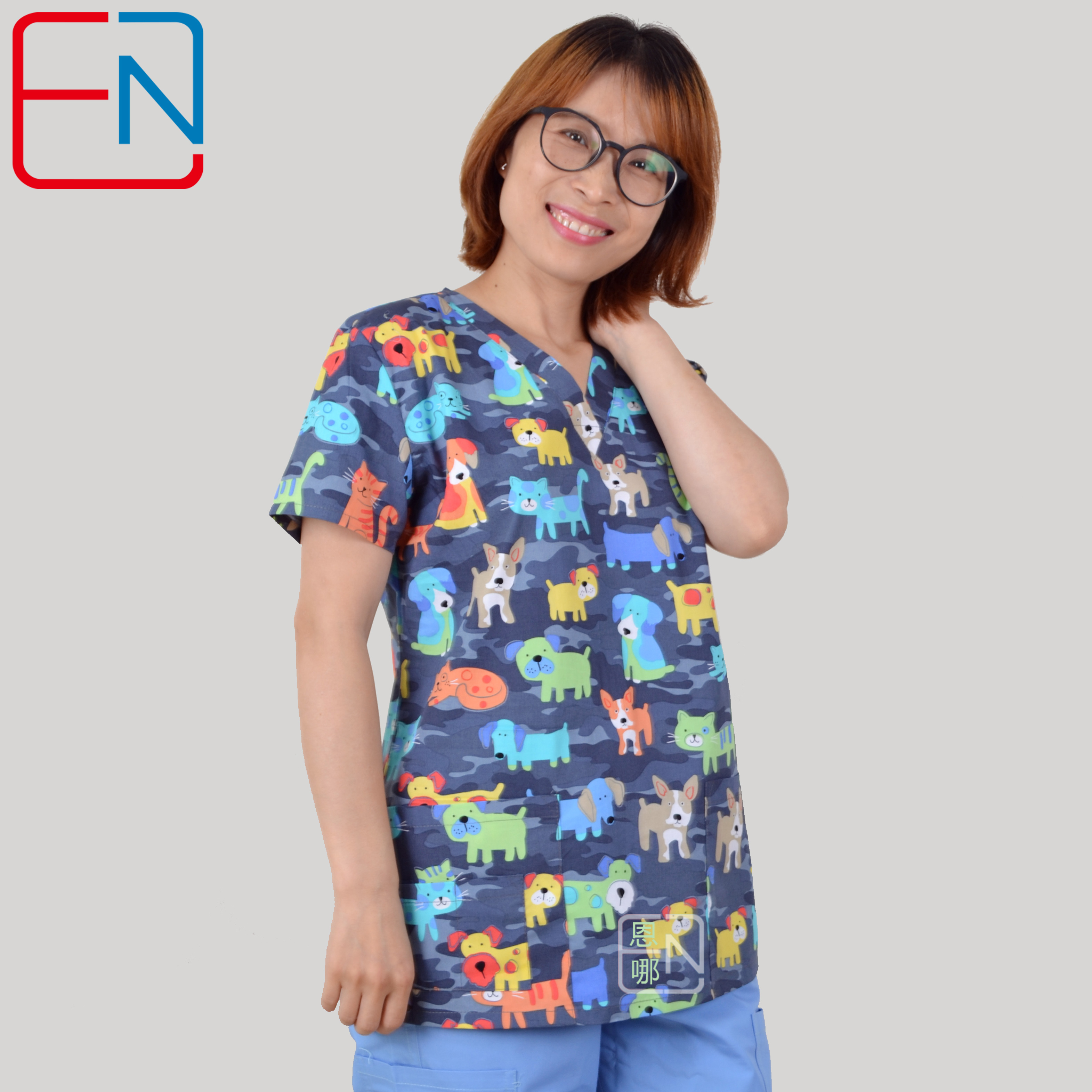 Hennar Women Print Scrub Top V-Neck 100% Cotton Hospital Medical Uniforms 5 Designs Stretchy Surgical Nurse Tops For Women