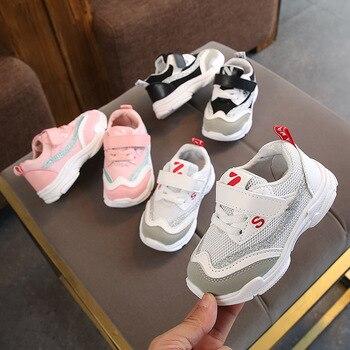 2019 Printemps Nouveau Style Chaussures Pour Enfants 1-6 Ans Bébé Rayures Chaussures De Sport Style Coréen Chaussures Velcro Décontracté Fond Mou Ru