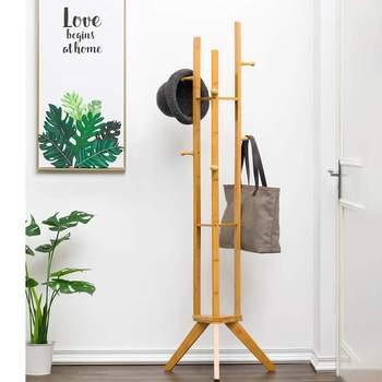 6 Hooks 3-Layer Shelf Solid Bamboo Hanger Floor Standing Coat Rack Home Furniture Clothes Hanging Storage Rack
