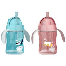 лучшая цена 280ml Baby Sippy Cup Kids Infant Children Learn Drinking Bottle Dual Handles Straw Juice Training Cups