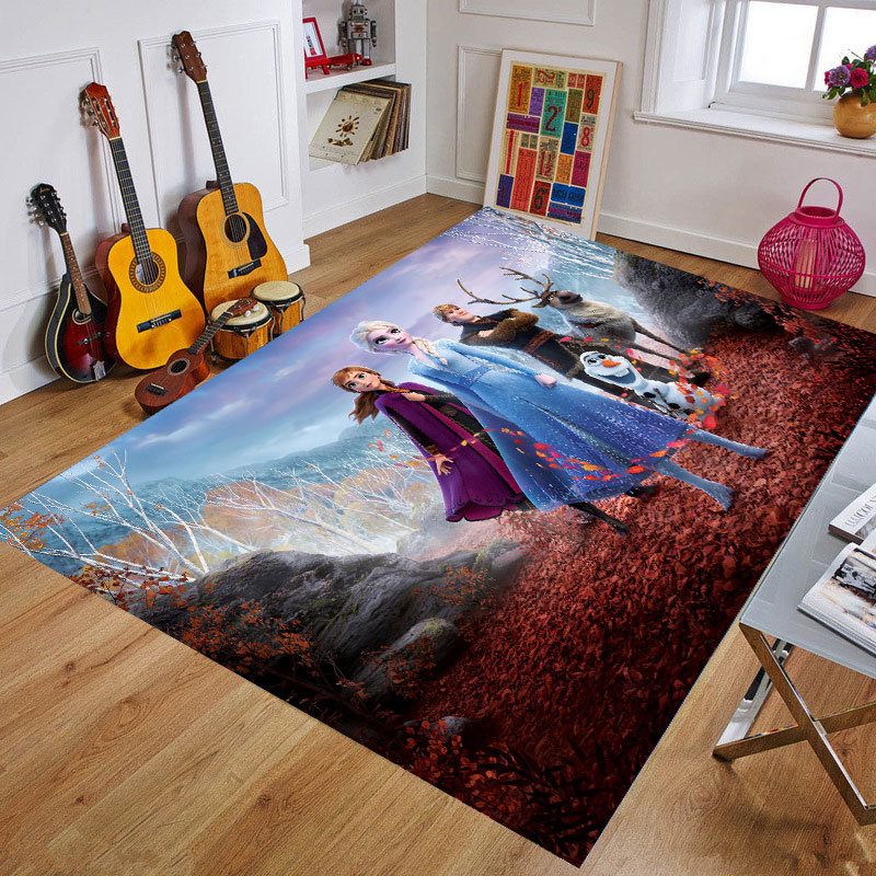 Frozen Cartoon Playmat Waterproof  Kids Rug Cute Kitchen Rugs Bedroom Carpets Decorative Stair Mats Home Decor Crafts Gift
