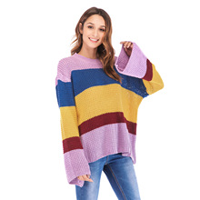 Womens sweater Three-color spliced knitted pullover Long sleeve loose sweaters Winter sweater women Pastel striped Pullovers slit lace spliced loose sweater