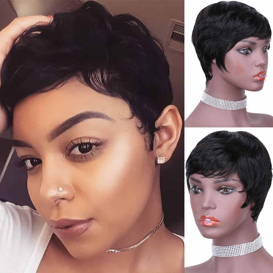 Fashion Lady Brazilian Human Hair Full Machine Wig Short Pixie Cut wigs Hot Selling Pretty Short Mushroom Wigs For Black Women
