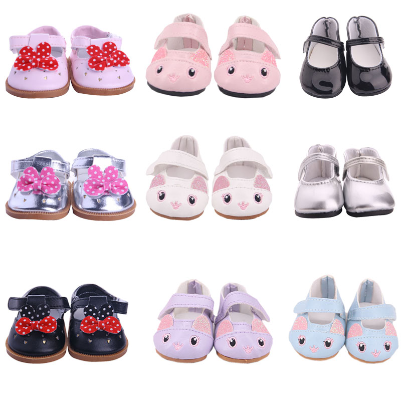 Doll 15 Styles Bow Leather Cat Ears Shoes For 18 Inch American&43 Cm Born Baby Generation Russia DIY Toy Girl's Gift(China)