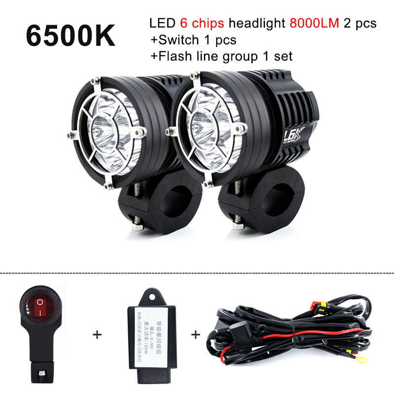 2pcs Strobe Motorcycle Headlights Auxiliary Fog Lamp T6 Led Motorbike Spotlight Accessories 12V Moto DRL Spot Head Lights White