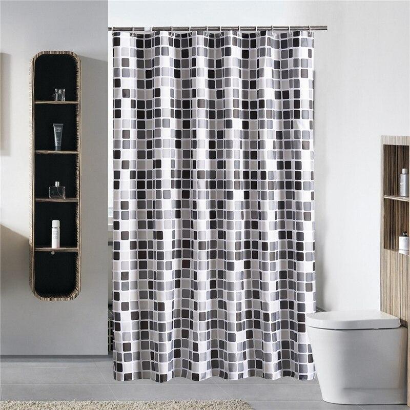 >Black+white+gray Plaid Bathtub Bathroom Fabric Shower Curtain <font><b>Waterproof</b></font> <font><b>Mildewproof</b></font> Bath Curtains