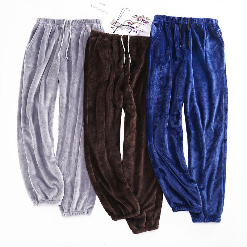 Pajama Pants Sleepwear Nightwear Flannel Thick Warm Winter Comfort Counple Autumn Men